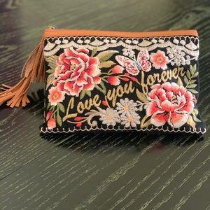 Johnny Was Embroidery Clutch Handbag